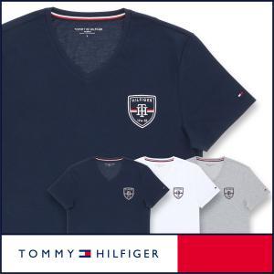 TOMMY HILFIGER トミーヒルフィガー Tシャツ Vネック 半袖 綿 100% エンブレム刺繍 メンズ ポイント10倍