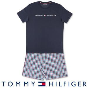 TOMMY HILFIGER コットン100% 半袖 ロゴ Tシャツ&ギンガムチェック ショートパンツセット 上下セット メンズ ポイント10倍|glanage