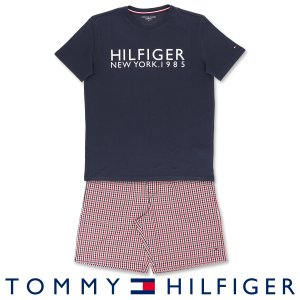 TOMMY HILFIGER コットン100% ロゴ 半袖 ロゴ Tシャツ&ギンガムチェック ショートパンツセット 上下セット メンズ ポイント10倍|glanage