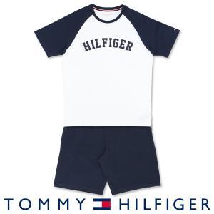 TOMMY HILFIGER コットン100% ロゴ 半袖 Tシャツ&ショートパンツセット 上下セット メンズ ポイント10倍|glanage