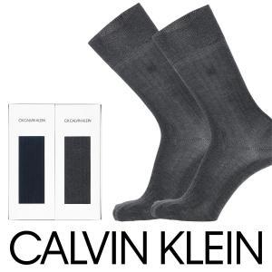 Calvin Klein カルバンクライン ビジネスソックス 2足組 ギフトセット ロゴ刺繍 リブ クルー丈 ブランド靴下 メンズ CK-20 ポイント10倍 メール便不可|glanage