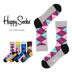 Happy Socks ハッピーソックス ARGYLE クルー丈 綿混 ソックス 靴下ユニセックス メンズ&レディス h605001|glanage