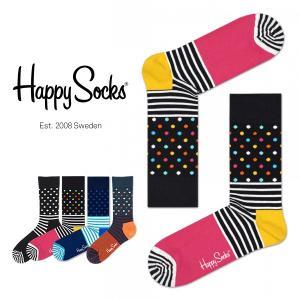 Happy Socks ハッピーソックス STRIPE & DOT クルー丈 綿混 ソックス 靴下ユニセックス メンズ&レディス h605023|glanage