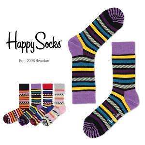 Happy Socks ハッピーソックス STRIPES & STRIPES クルー丈 綿混 ソックス 靴下ユニセックス メンズ&レディス h605071 glanage
