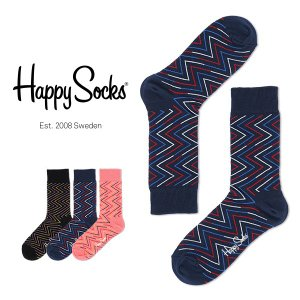 Happy Socks ハッピーソックス ZIGGY クルー丈 綿混 ソックス 靴下ユニセックス メンズ&レディス h605092|glanage