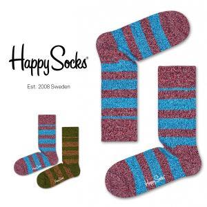 Happy Socks ハッピーソックス WOOL STRIPE クルー丈 綿混 ソックス 靴下ユニセックス メンズ&レディス h605112|glanage