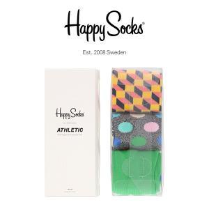 Happy Socks ハッピーソックス COLOR MIX Athletic クルー丈 パフォーマンス 3足組 ギフトセット 綿混 ソックス 靴下ユニセックス メンズ&レディス h605534|glanage