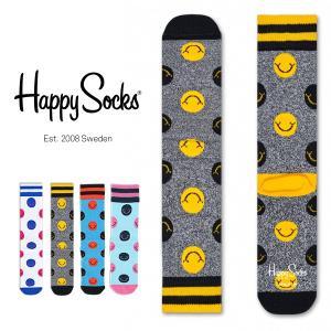 Happy Socks ハッピーソックス SMILE Athletic クルー丈 パフォーマンス 綿混 ソックス 靴下ユニセックス メンズ&レディス h605541|glanage