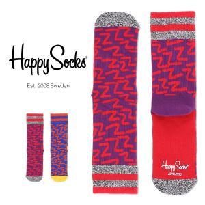 Happy Socks ハッピーソックス ZZZ Athletic クルー丈 パフォーマンス 綿混 ソックス 靴下ユニセックス メンズ&レディス h605542|glanage