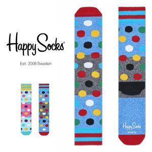 Happy Socks ハッピーソックス BIG DOT BLOCK Athletic パフォーマンス 綿混 クルー丈 ソックス 靴下ユニセックス メンズ&レディス h605543|glanage