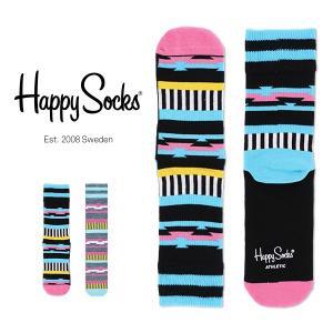 Happy Socks ハッピーソックス INCA Athletic クルー丈 パフォーマンス 綿混 ソックス 靴下ユニセックス メンズ&レディス h605547|glanage