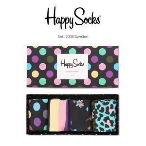 Happy Socks ハッピーソックス BIG DOT 4足組 ギフトセット 綿混 クルー丈 ソックス 靴下 GIFT BOX ユニセックス メンズ&レディス h605906|glanage