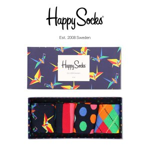 Happy Socks ハッピーソックス Origami 4足組 ギフトセット 綿混 クルー丈 ソックス 靴下 GIFT BOX ユニセックス メンズ&レディス h605907|glanage