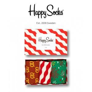 Happy Socks ハッピーソックス RED&WHITE 3足組 ギフトセット 綿混 クルー丈 ソックス 靴下 GIFT BOX ユニセックス メンズ&レディス h605922|glanage