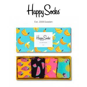 Happy Socks ハッピーソックス FRUITS 4足組 ギフトセット 綿混 クルー丈 ソックス 靴下 GIFT BOX ユニセックス メンズ&レディス h605939|glanage