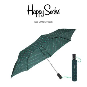 Happy Socks ハッピーソックス 折り畳み傘 ワンタッチ自動開閉 直径90cm LUCKY ( ラッキー )  雨傘 雨具 ユニセックス メンズ & レディス h608504|glanage