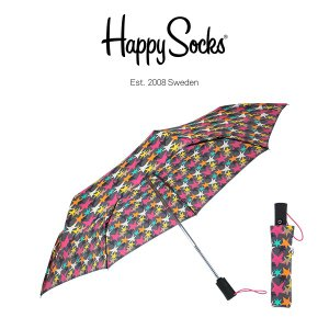 Happy Socks ハッピーソックス 折り畳み傘 ワンタッチ自動開閉 直径90cm STARS ( スターズ ) 雨傘 雨具 ユニセックス メンズ & レディス h608506|glanage