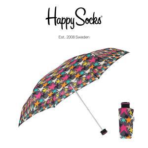 Happy Socks ハッピーソックス 折り畳み傘 ミニサイズ 直径86cm STARS MINI ( スターズ ミニ ) 雨傘 雨具 ユニセックス メンズ & レディス h608507|glanage