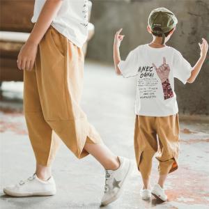 商品の説明   軽量・薄地・綿麻リネン  コットン生地  透気性抜群  子供用ズボン  パンツ こど...