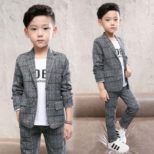 商品の説明   子供 スーツ 男の子 フォーマル スーツ 2点セット ジャケット+ズボン チェック ...