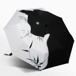 折りたたみ傘 撥水加工 折り畳み傘3段折り メンズ自動開閉 晴雨兼用 猫柄高強度 耐久性の高い8本骨 大きめサイズ かさ カサ メンズ レディース 耐強風|glanz-shop