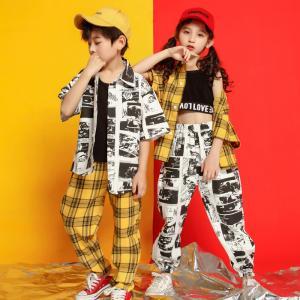 キッズ ダンス衣装 ヒップホップ 子供 HIPHOP チェック柄 男の子 女の子 Tシャツ ショートパンツ ジャズダンス DANCE ステージ衣装 練習着 体操服 演出服|glanz-shop