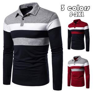 ポロシャツ メンズ トップス 大きいサイズ 長袖 ファッション 3色切り替え トレンド ゴルフウェア おしゃれ スポーツ 春秋 ゴルフ シャツ 紳士服 カジュアル 3色 glanz-shop