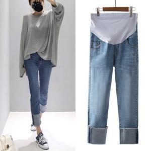 マタニティー デニム スキニー ダメージ デニムパンツ パンツ ジーンズ インディゴ 妊婦 妊婦服 かわいい|glanz-shop