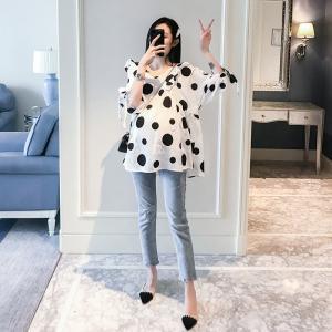 レディースドット柄トップスシャツ+ジーパンおしゃれカジュアルセット春夏2点セット大きいサイズ韓国風大人カジュアル着痩せ七分袖妊娠服新作|glanz-shop