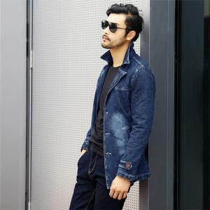トップス メンズ デニム ジャケット メンズ コート 春 秋 長袖 メンズ おしゃれ ー ブランド 大きいサイズ 無地 ブレザー アウター|glanz-shop