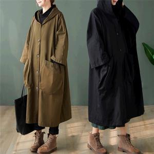 トレンチコート レディース スプリングコート ロング フード付き おしゃれ コート 春 大きいサイズ 高級 シンプル 大人 アウター glanz-shop