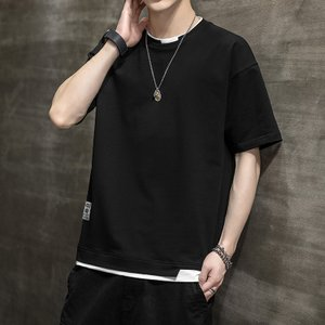 Tシャツ メンズ 半袖 韓国 ファッション おしゃれ 丸首Tシャツ Tシャツ カットソー 夏 春 夏Tシャツ メンズ 2021 春 新作 glanz-shop