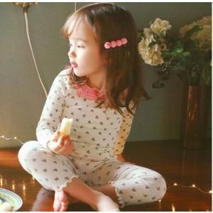 パジャマ こども 女の子 長袖 部屋着 キッズ ルームウェア 花柄 子供服  ベビー服 オシャレ か...