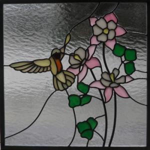 ステンドグラスパネル デザインガラス インテリア 建具 窓にオーダーメイド 鳥2|glass-artk