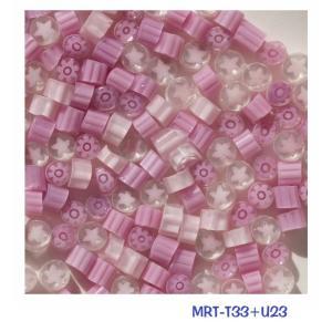 膨張係数104のミルフィオリです。T33(濃いピンク)とU23(淡いピンク星)の当社ブレンド品です。...