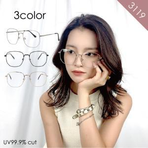 GG eyewear 伊達メガネ スクエア サングラス UVカット 99.9% おしゃれ レディース 紫外線 大きめ 女性用 ユニセックス fi3119 glass-garden