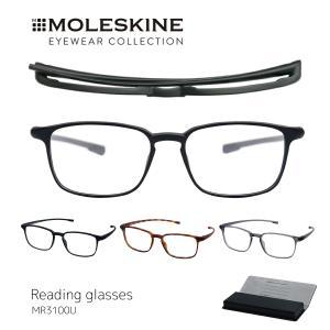 老眼鏡 モレスキン おしゃれ  メンズ MOLESKINE 男性用 薄型 携帯スクエア シニアグラス リーディンググラス ブラック べっこう柄 グレー MR3100U|glass-garden