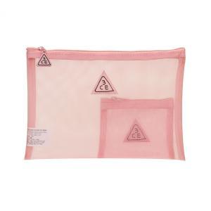 スリーコンセプトアイズ 3CE ポーチ #ライトピンク メッシュタイプ (化粧ポーチ)|glass-oner