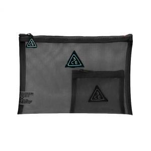スリーコンセプトアイズ 3CE ポーチ #ブラック メッシュタイプ (化粧ポーチ)|glass-oner