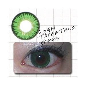 カラコン カラーコンタクトレンズ 度なし スリートーングリーン 1箱2枚入り|glasscore