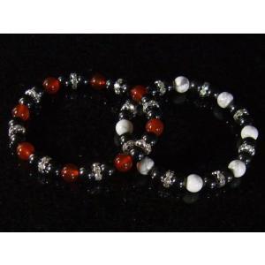 磁気入りヘマタイト天然石ブレスレット/ロンデル飾り/赤メノウ/マグネサイト|glasshouseyumekoubou