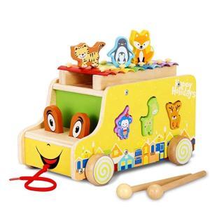 YA-0000893 木のおもちゃ 3WAYごっこ遊び 人気 アニマルビーズバス 鉄琴 楽器 おまま...