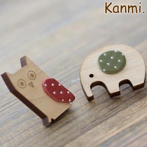 Kanmi. (カンミ) ウッドレザーブローチ/日本製 glencheck