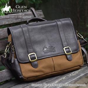 GLCコットンレザーコンビネーションブリーフケース GFJ34/ポケット多/本革 グレンフィールド|glencheck