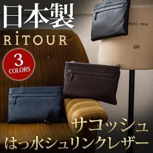 日本製 はっ水シュリンクレザーサコッシュ バッグ RiTOUR リツア メンズ レディースショルダーバッグ レザーバッグ レザー 撥水 本革 バッグ|glencheck
