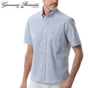 イタリア製シアサッカーボタンダウンシャツR/RosMen グレンフィールド|glencheck