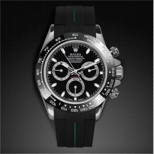 brand new 8ec27 68d5f RUBBERB ロレックス デイトナ  オイスターブレスレットモデル専用ラバーベルト【ブラック×グリーン】【ROLEXバックルを使用】※時計、バックルは付属しません