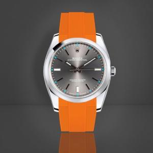 premium selection 036be 7a83d RUBBERB ロレックス オイスターパーペチュアル 39mm専用ラバーベルト 色:オレンジ【ROLEXバックルを使用】※時計、バックルは付属しません