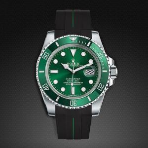 quality design 903f1 40440 RUBBERB ロレックス サブマリーナ/サブマリーナセラミック専用ラバーベルト【ブラック×グリーン】【尾錠付き】※時計は付属しません