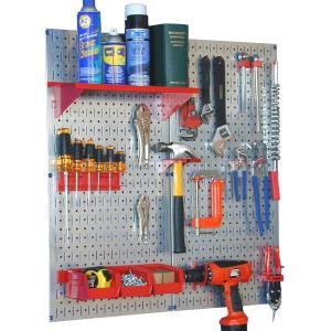工具・壁掛けボードキット 2 panel Silver (ペグカラー:Red)|global-shop-rb